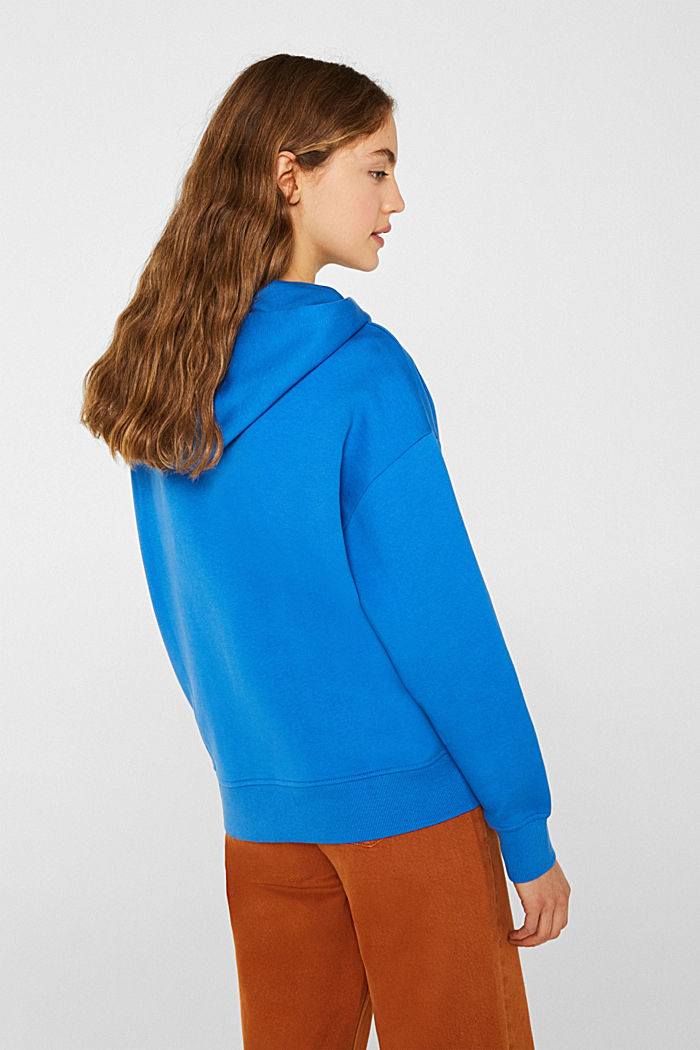 Cotton hoodie with tape, BRIGHT BLUE, detail image number 3