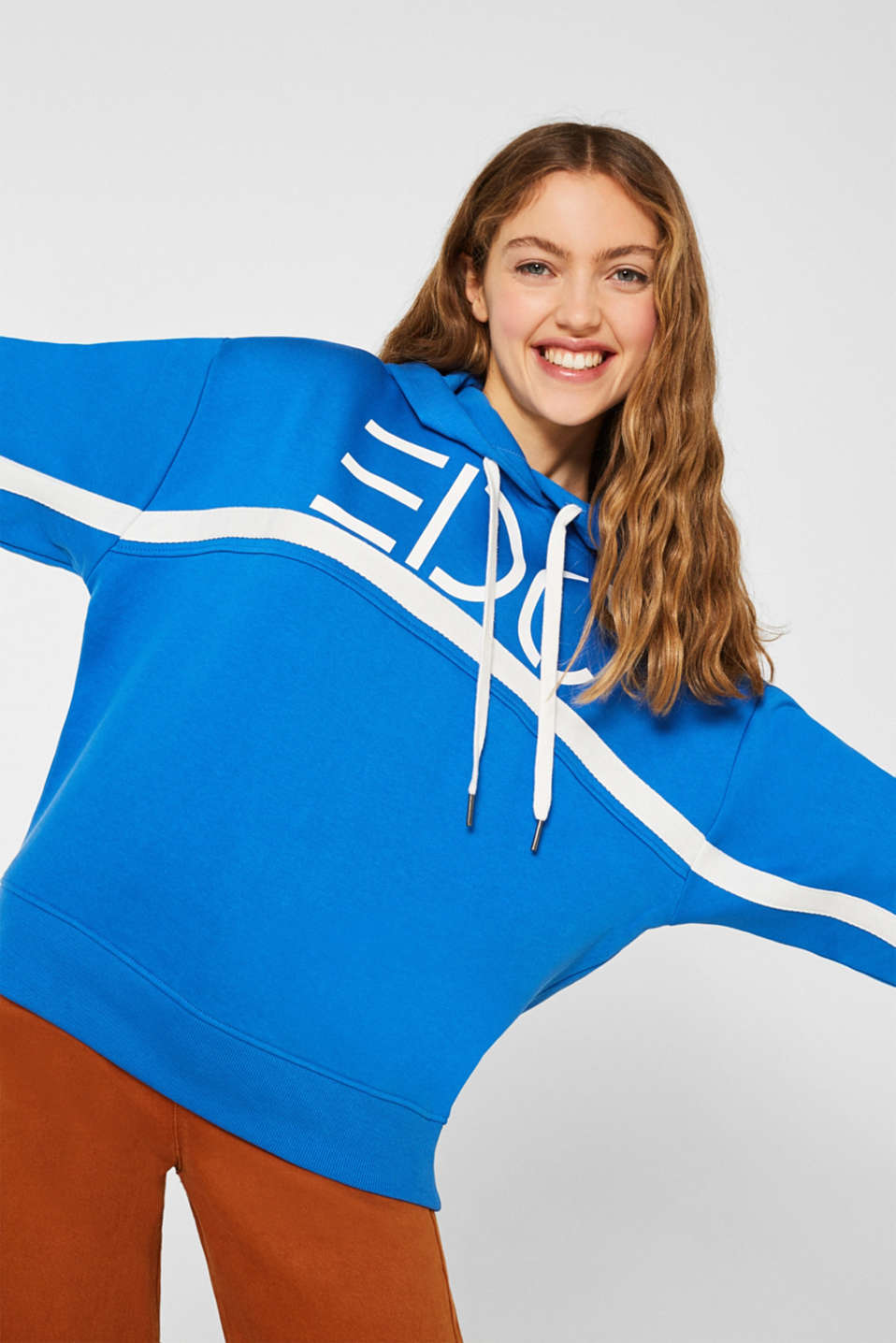 Logo hoodie with woven tape, 100% cotton, BRIGHT BLUE, detail image number 5