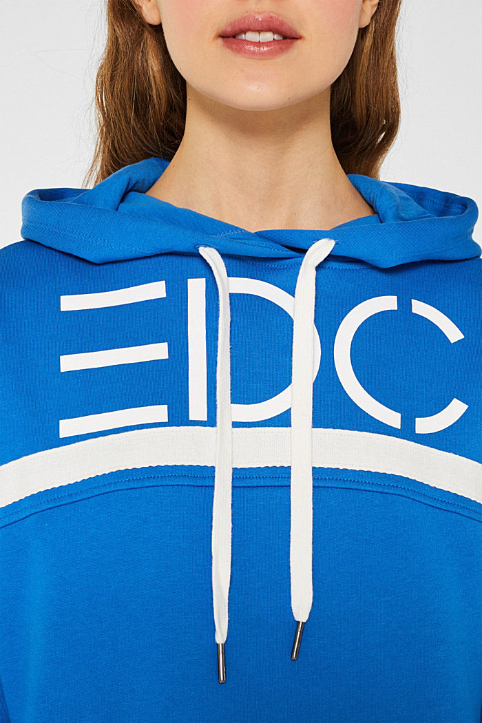 Cotton hoodie with tape, BRIGHT BLUE, detail image number 2