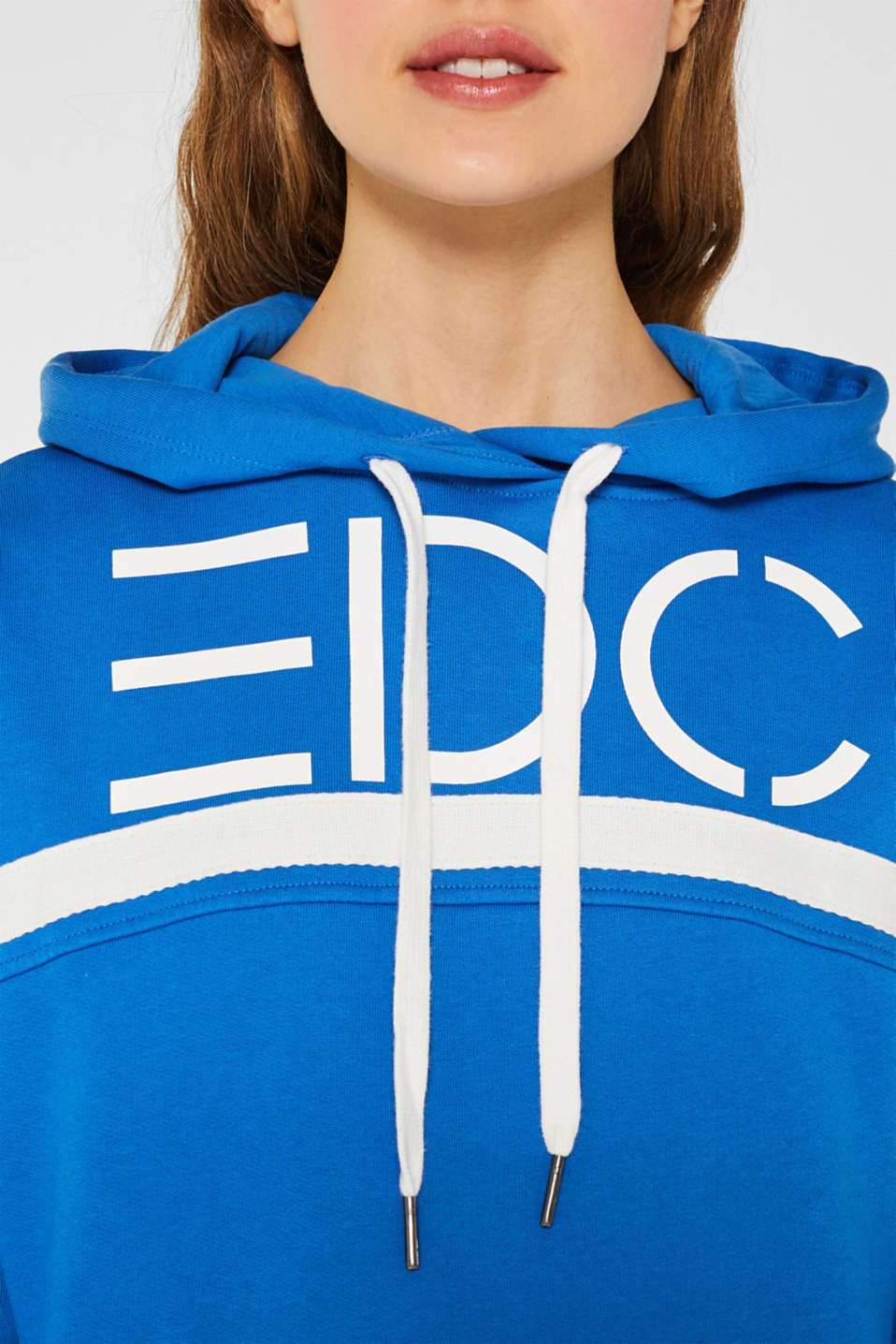 Logo hoodie with woven tape, 100% cotton, BRIGHT BLUE, detail image number 2