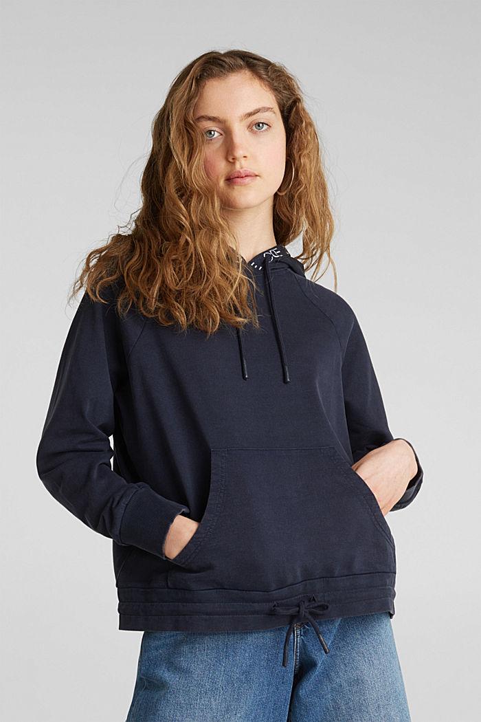 Hoodie im Washed-Look, 100% Baumwolle, NAVY, detail image number 0