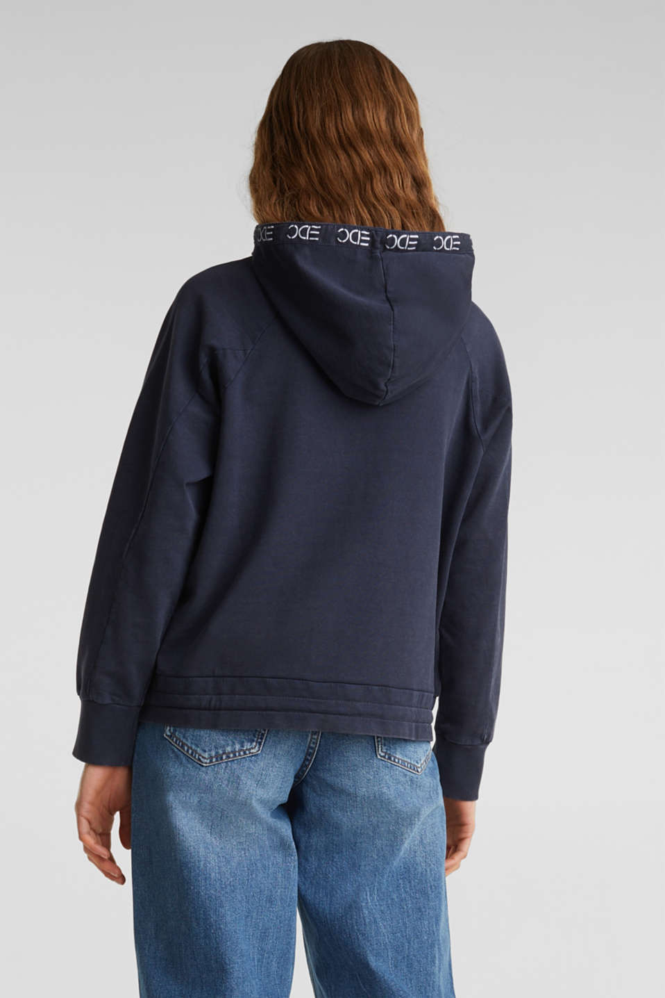 Garment-washed hoodie, 100% cotton, NAVY, detail image number 3