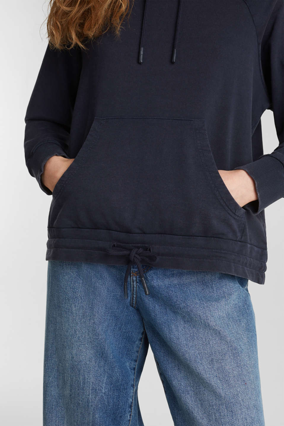 Garment-washed hoodie, 100% cotton, NAVY, detail image number 5
