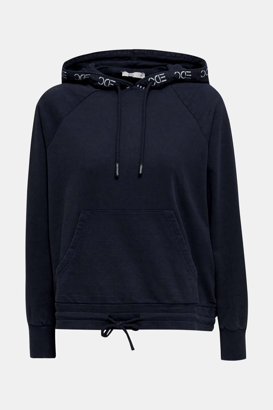 Garment-washed hoodie, 100% cotton, NAVY, detail image number 7