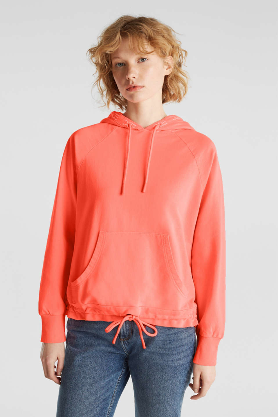 Garment-washed hoodie, 100% cotton
