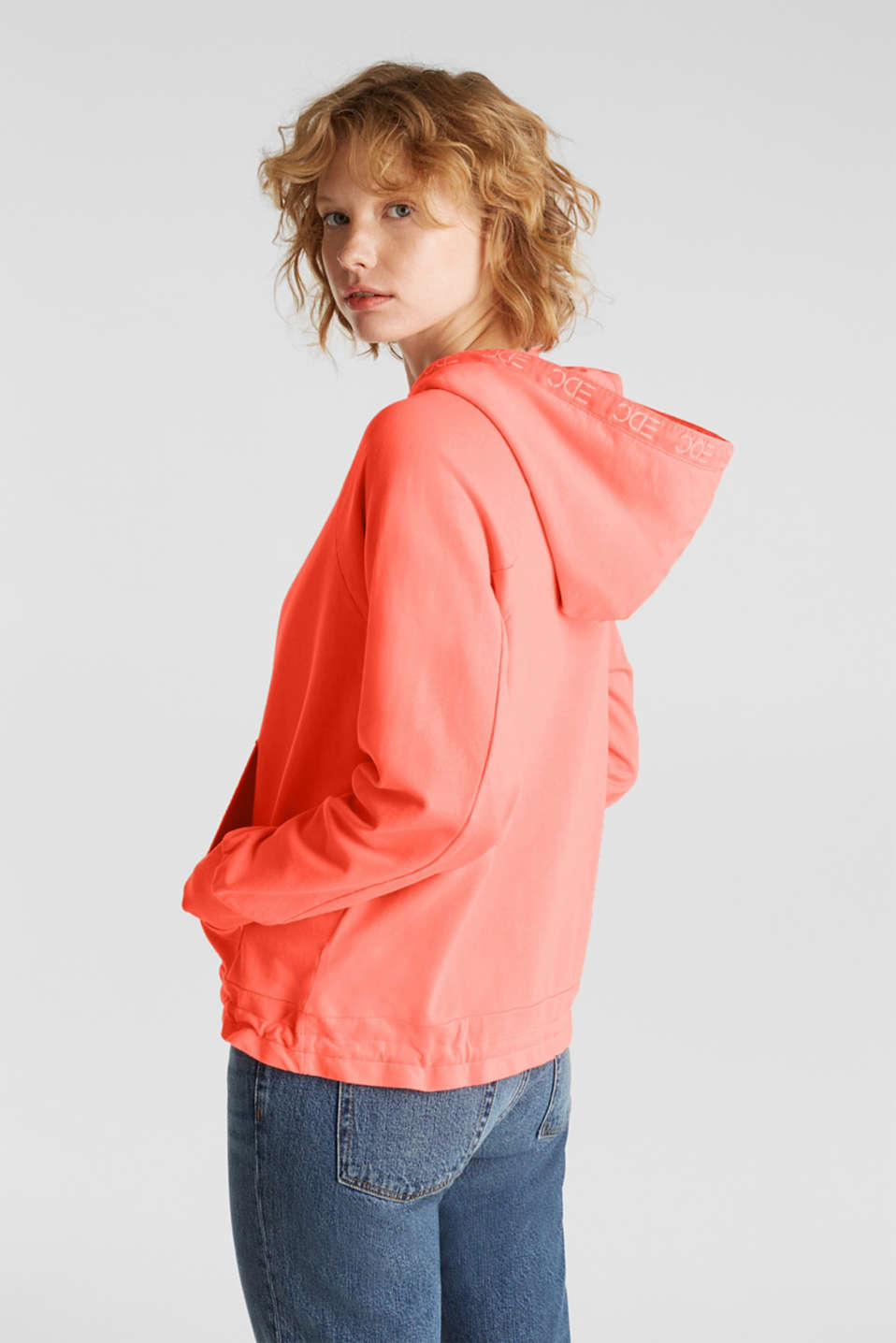 Garment-washed hoodie, 100% cotton, CORAL, detail image number 3