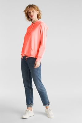 Garment-washed hoodie, 100% cotton, CORAL, detail