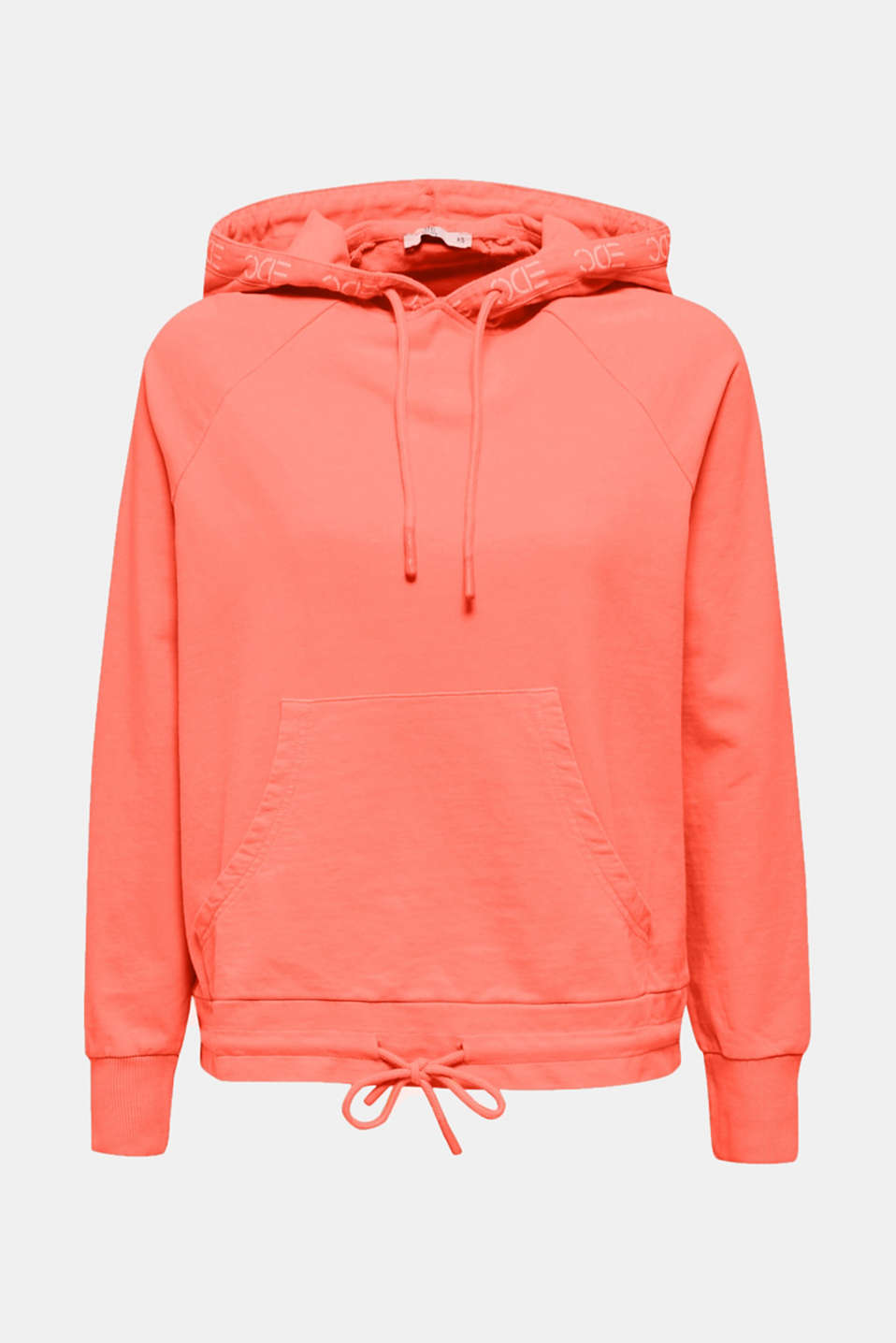 Garment-washed hoodie, 100% cotton, CORAL, detail image number 6