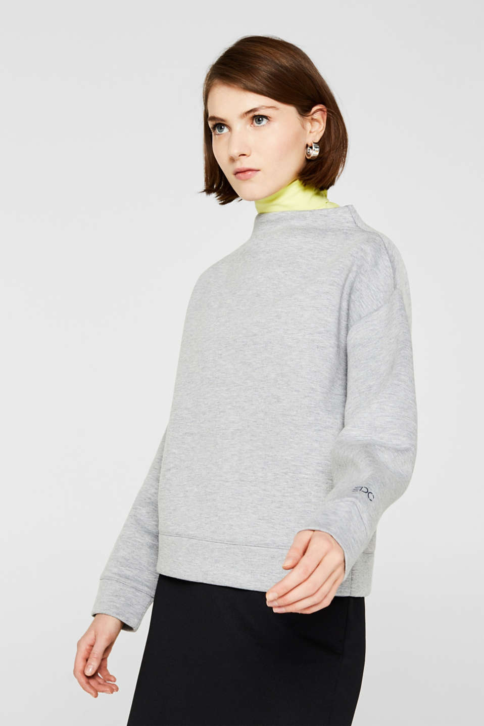 Compact sweatshirt with a stand-up collar, LIGHT GREY 5, detail image number 0