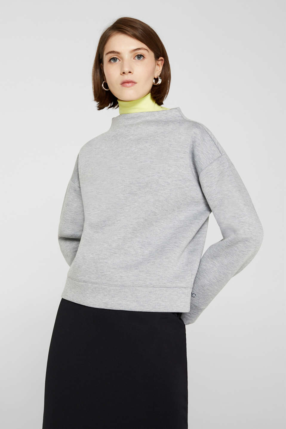 Compact sweatshirt with a stand-up collar, LIGHT GREY 5, detail image number 6