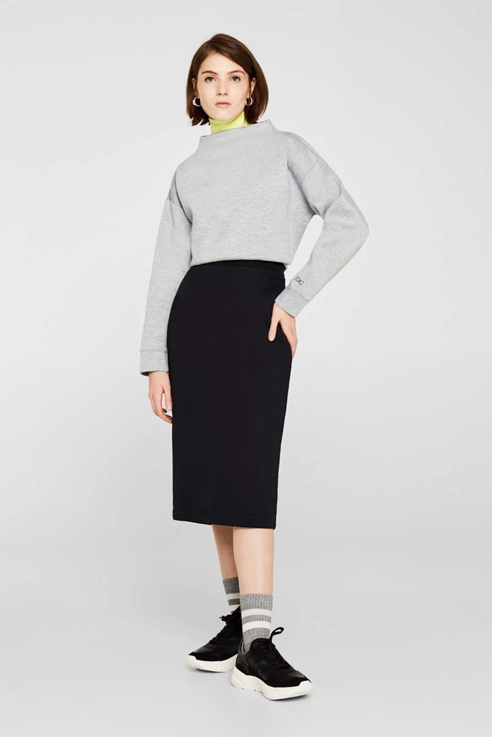 Compact sweatshirt with a stand-up collar, LIGHT GREY 5, detail image number 1