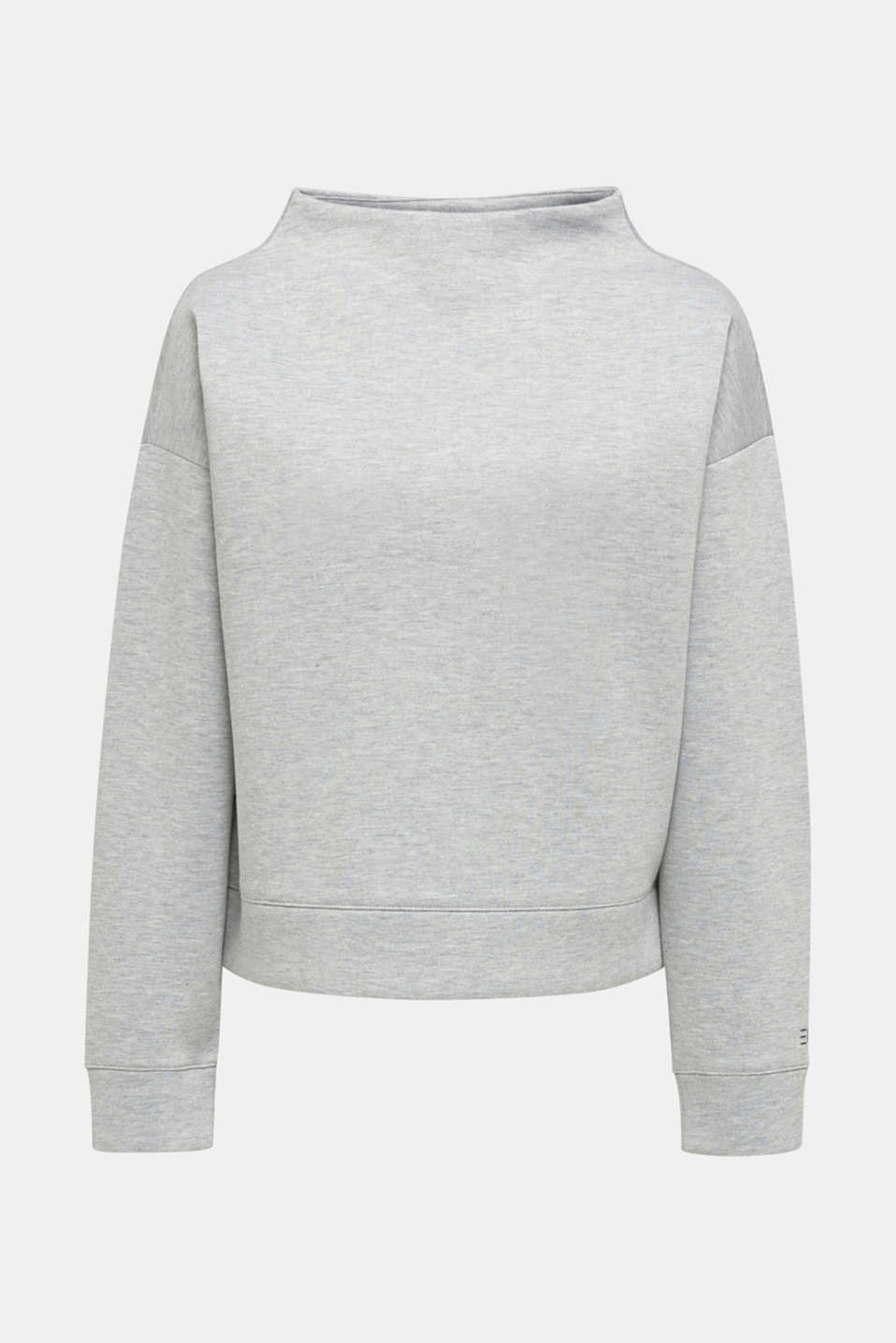 Compact sweatshirt with a stand-up collar, LIGHT GREY 5, detail image number 7