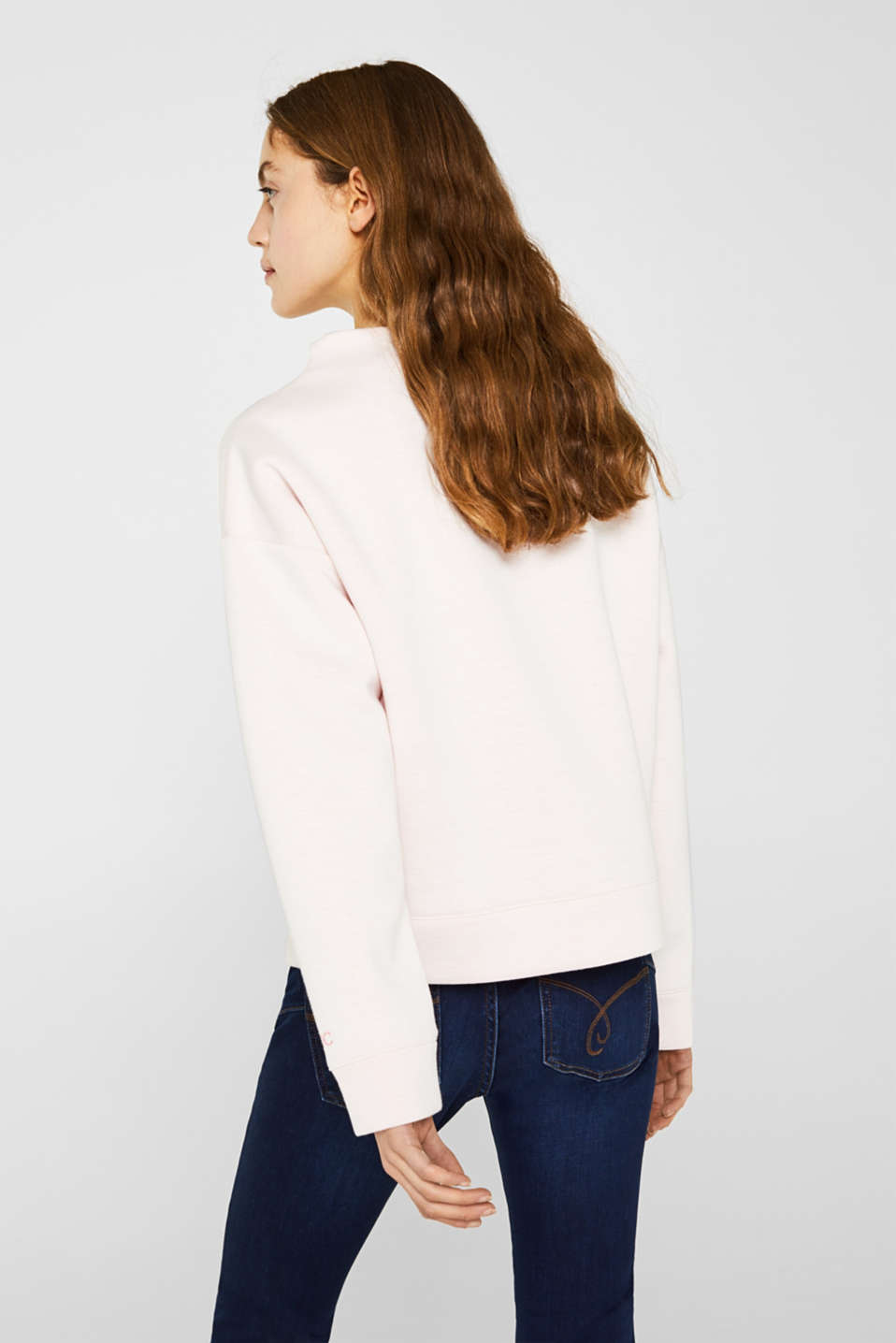 Compact sweatshirt with a stand-up collar, OFF WHITE, detail image number 2