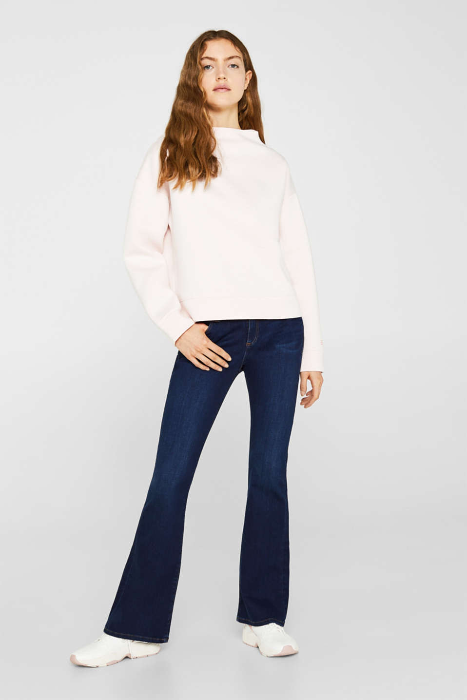 Compact sweatshirt with a stand-up collar, OFF WHITE, detail image number 1