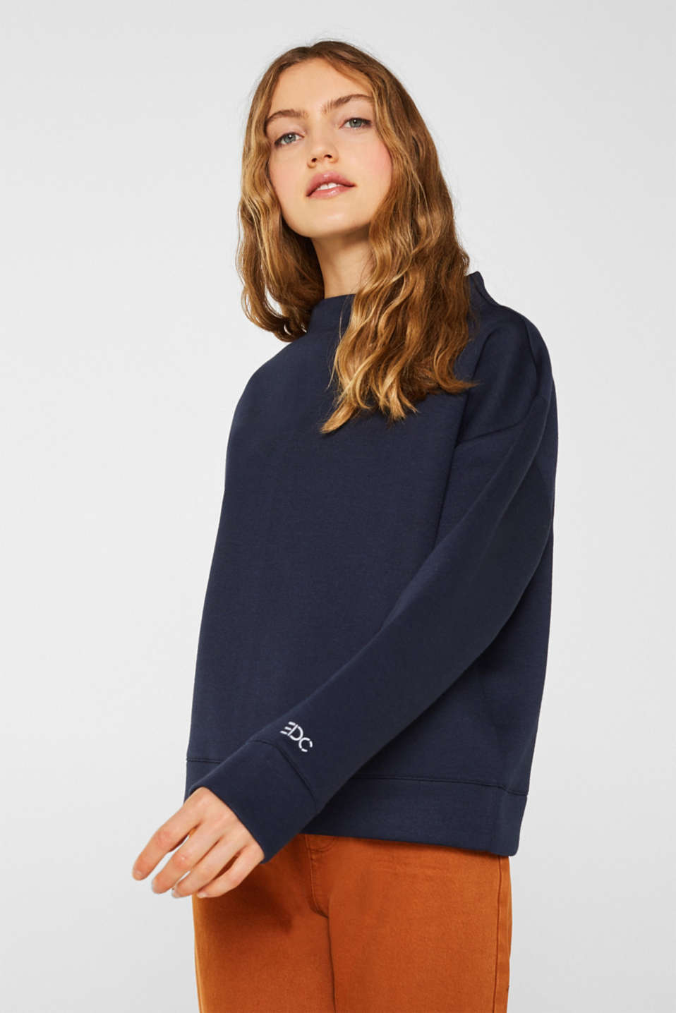 Compact sweatshirt with a stand-up collar, NAVY, detail image number 0