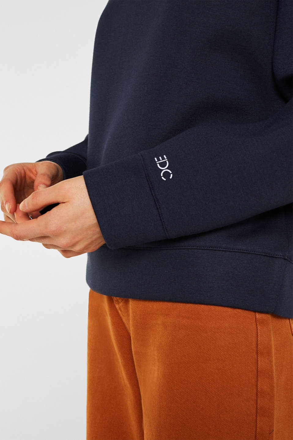 Compact sweatshirt with a stand-up collar, NAVY, detail image number 2