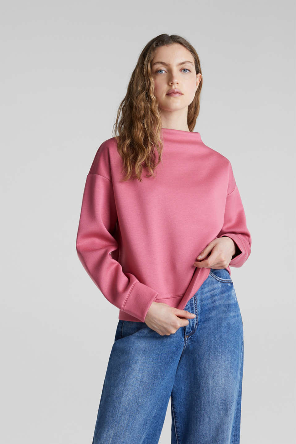 Compact sweatshirt with a stand-up collar, BLUSH, detail image number 0