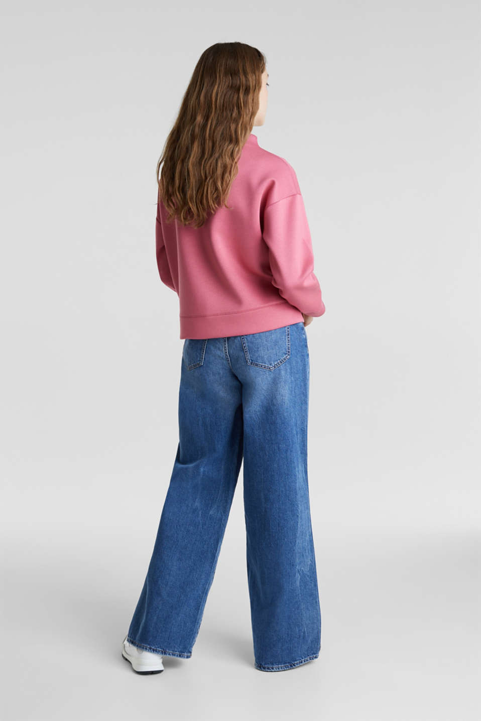 Compact sweatshirt with a stand-up collar, BLUSH, detail image number 2