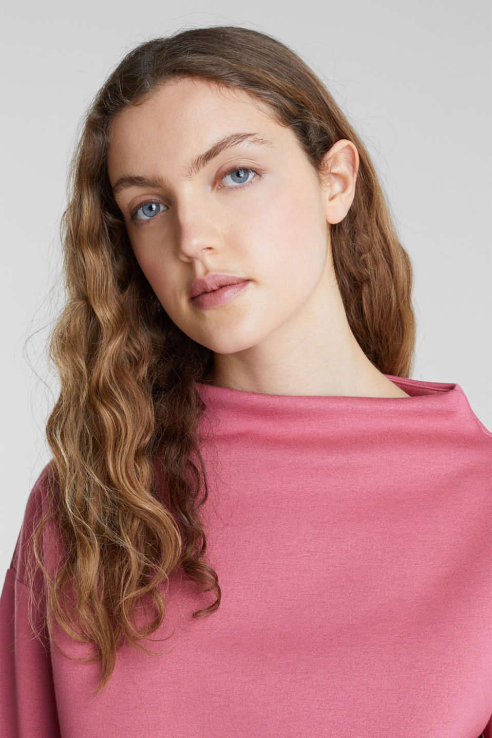 Compact sweatshirt with a stand-up collar, BLUSH, detail image number 6