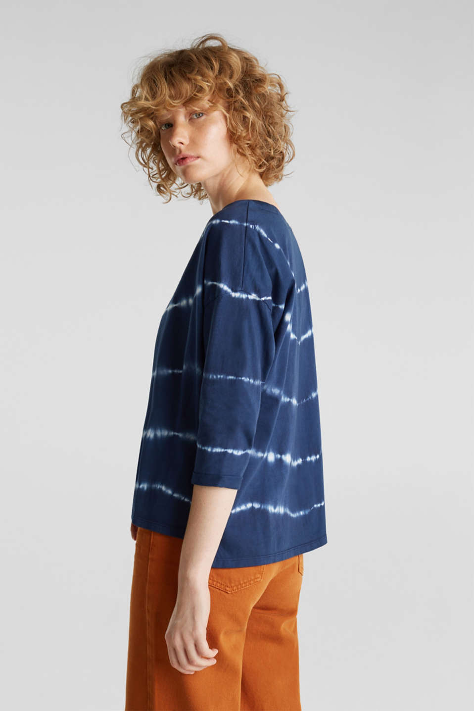 Oversized top in a batik look, 100% cotton, NAVY, detail image number 3
