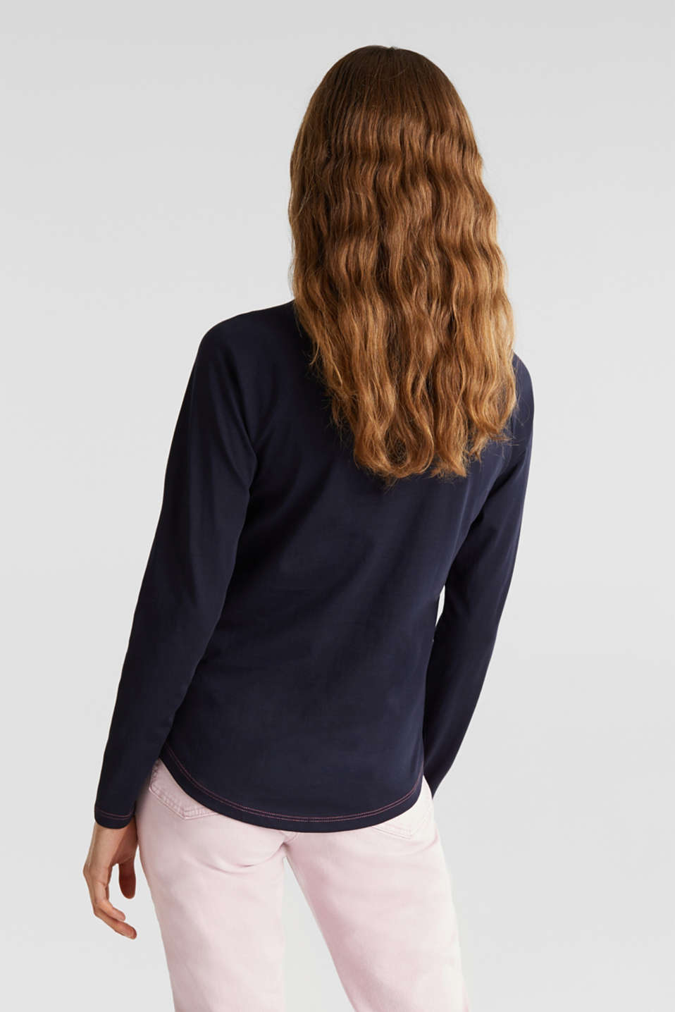 Long sleeve top with a front print, 100% cotton, NAVY, detail image number 3