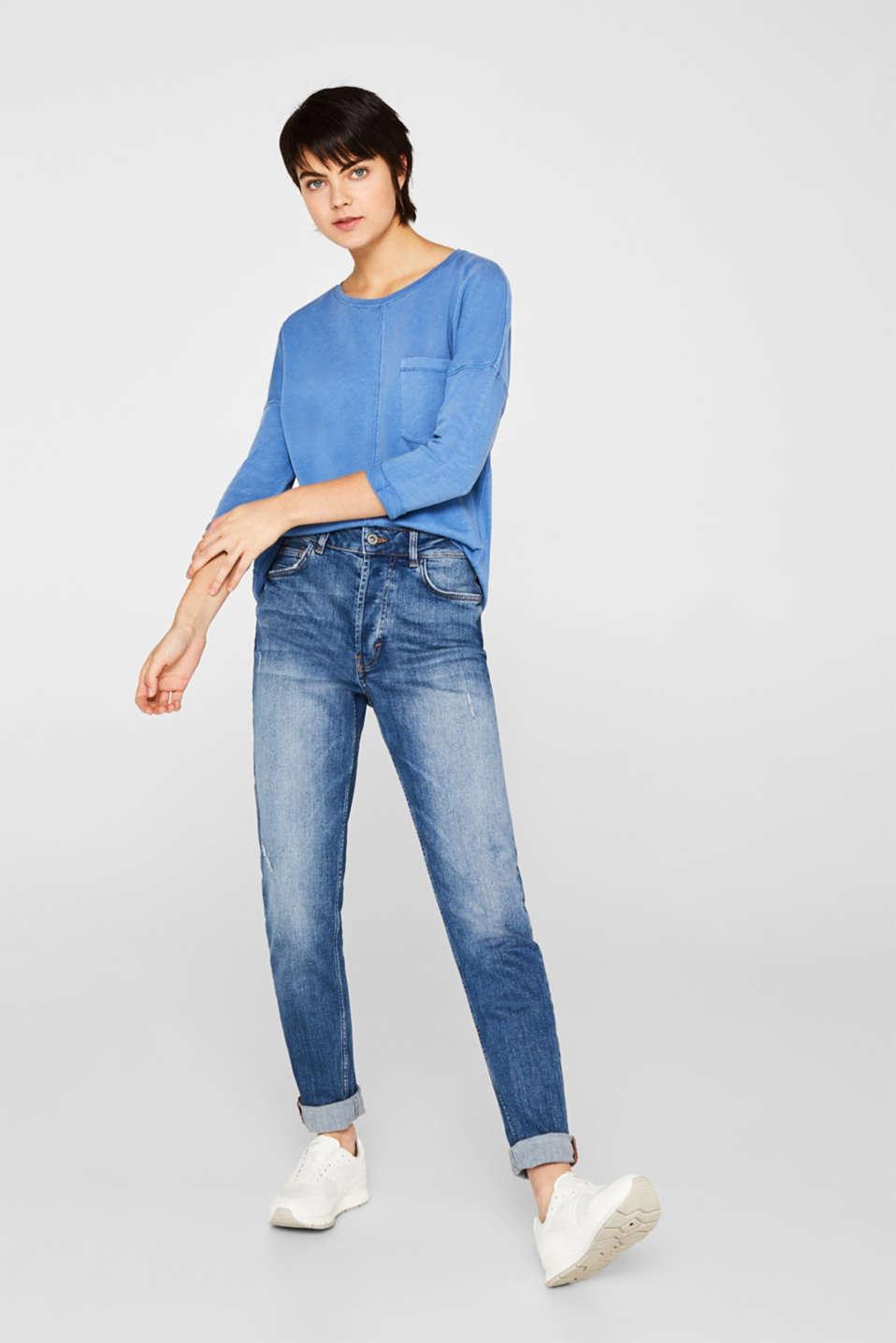 NEON slub T-shirt with a pocket, 100% cotton, BRIGHT BLUE, detail image number 1