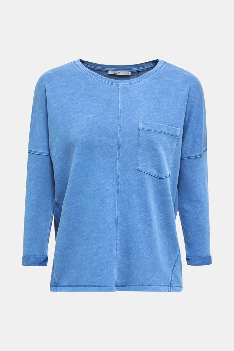 NEON slub T-shirt with a pocket, 100% cotton, BRIGHT BLUE, detail image number 5