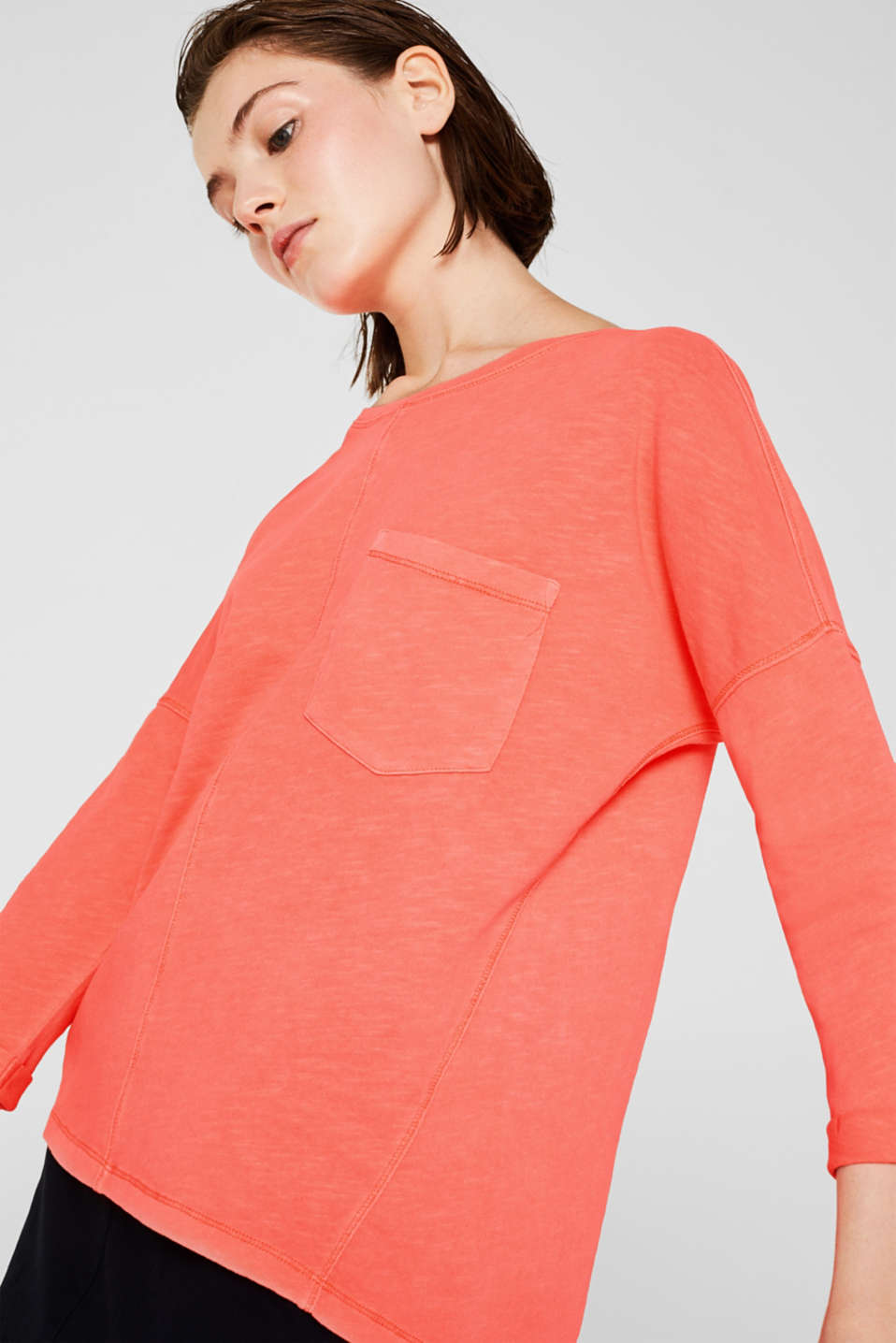 NEON slub T-shirt with a pocket, 100% cotton, CORAL, detail image number 0