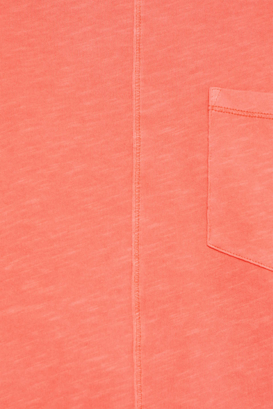 NEON slub T-shirt with a pocket, 100% cotton, CORAL, detail image number 2