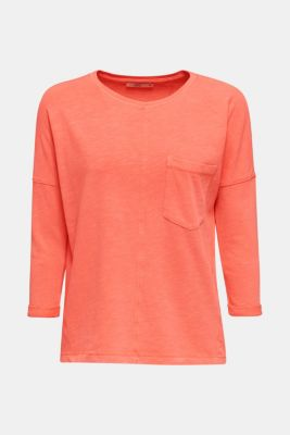 NEON slub T-shirt with a pocket, 100% cotton, CORAL, detail