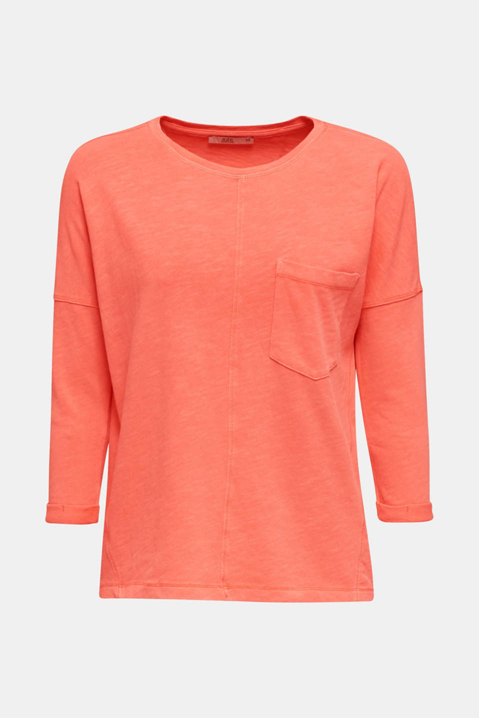 NEON slub T-shirt with a pocket, 100% cotton, CORAL, detail image number 5