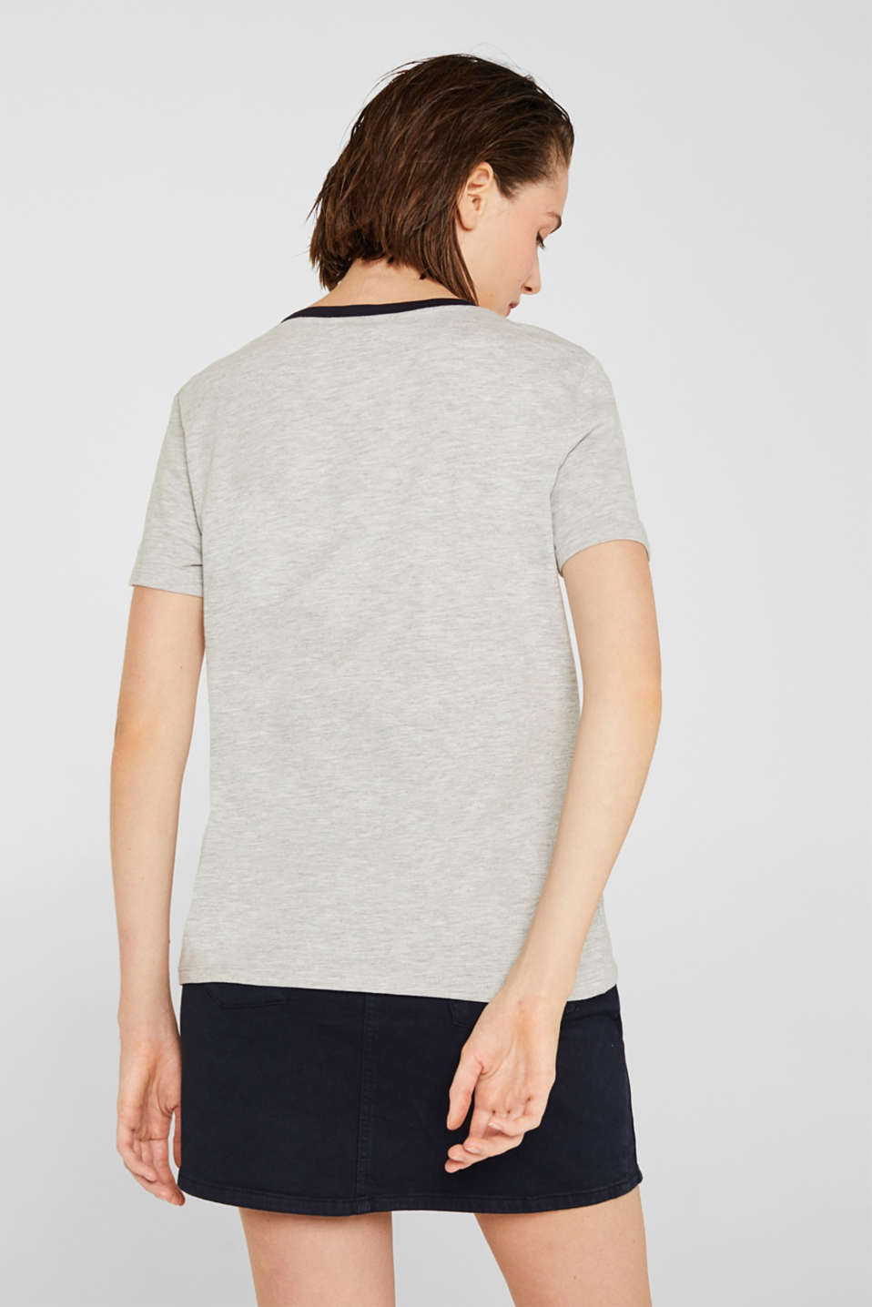 Melange top with embroidery, LIGHT GREY 5, detail image number 3