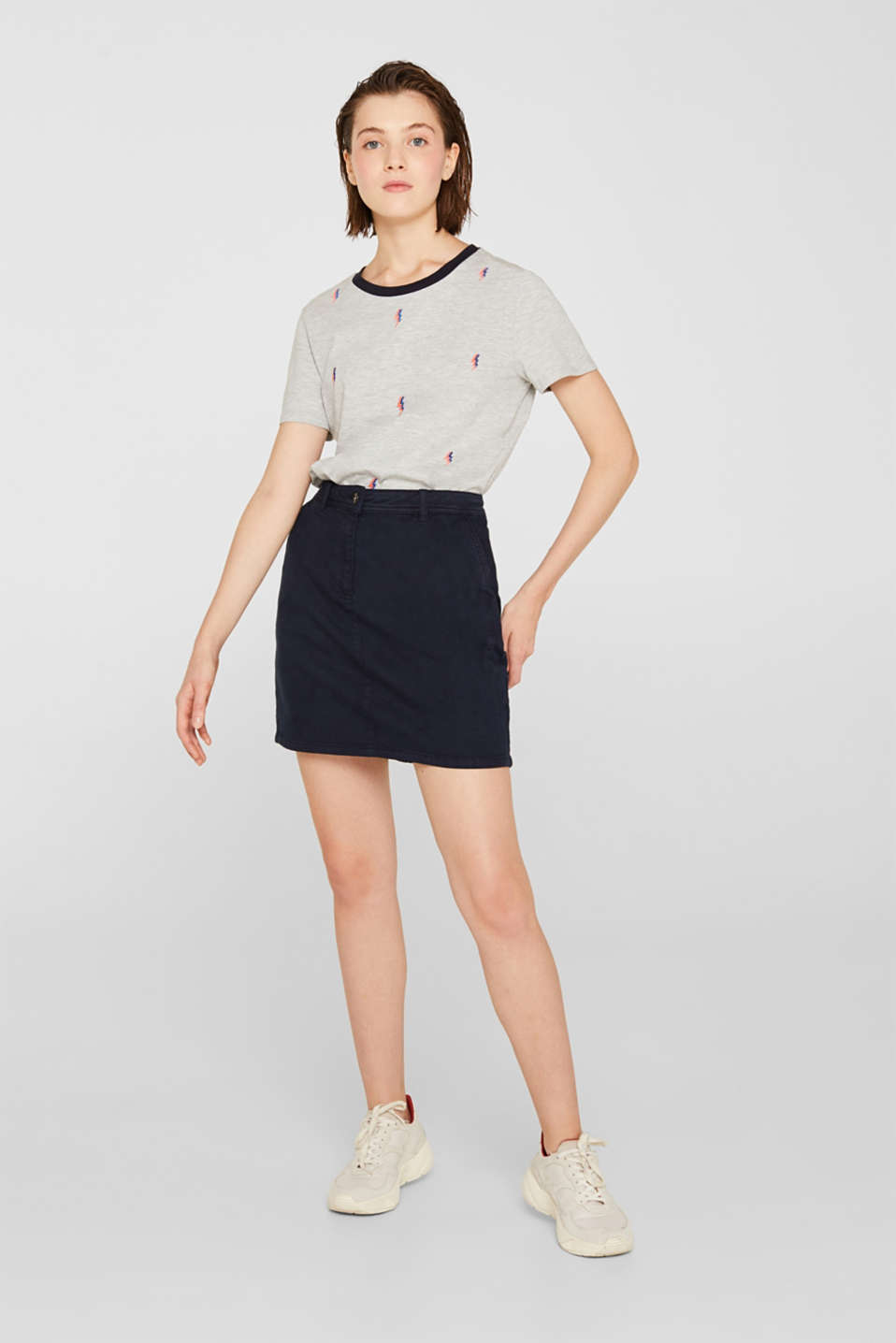 Melange top with embroidery, LIGHT GREY 5, detail image number 5