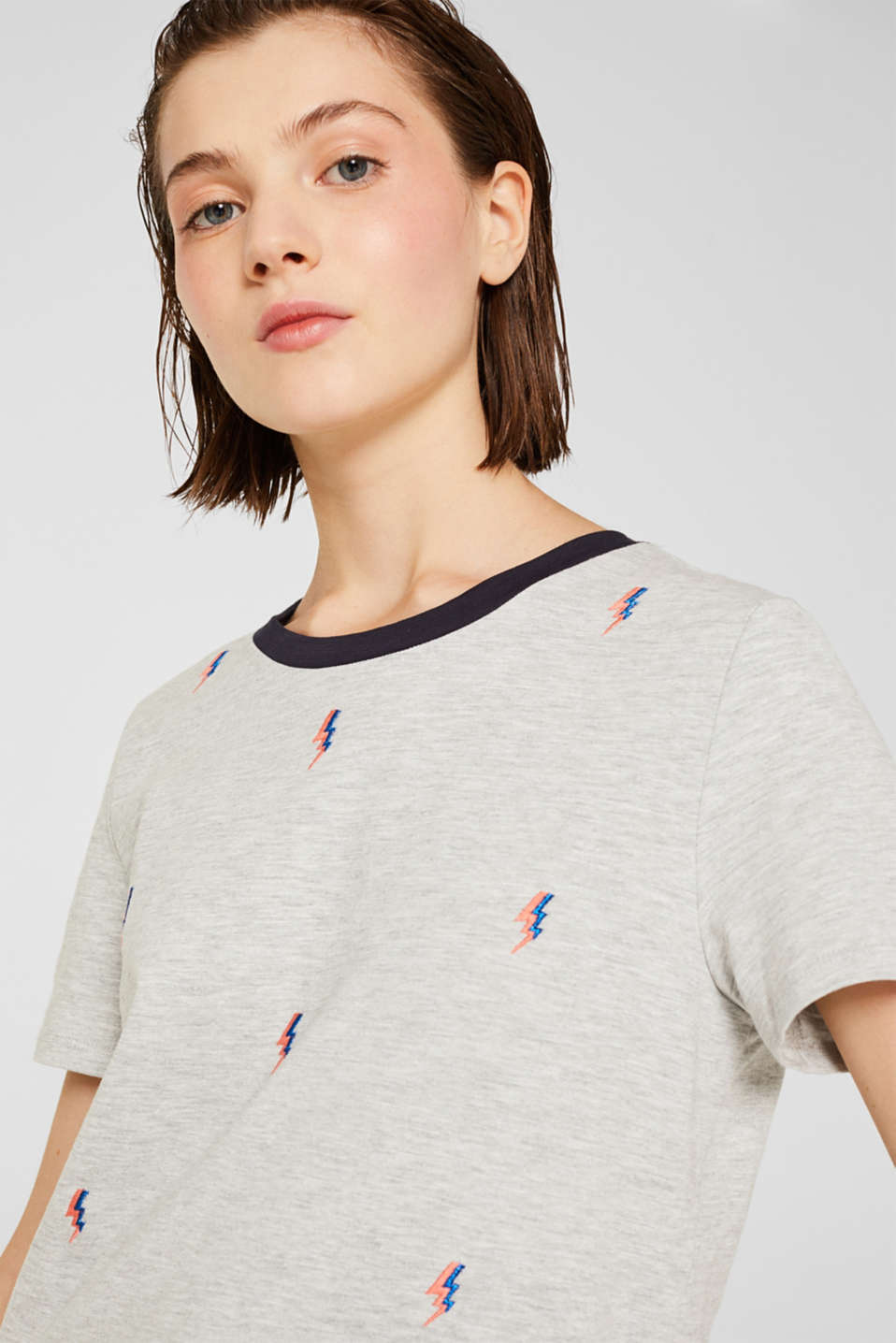 Melange top with embroidery, LIGHT GREY 5, detail image number 2