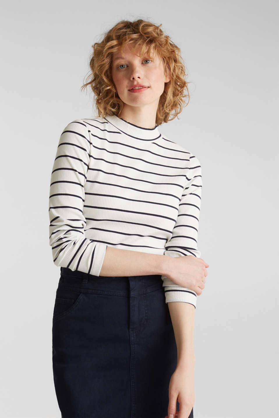 edc - Stretch long sleeve top with band collar