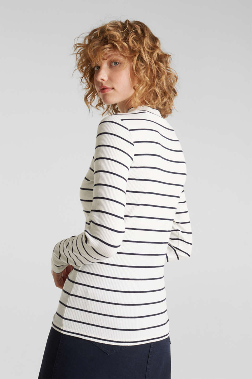 Stretch long sleeve top with band collar, OFF WHITE, detail image number 3