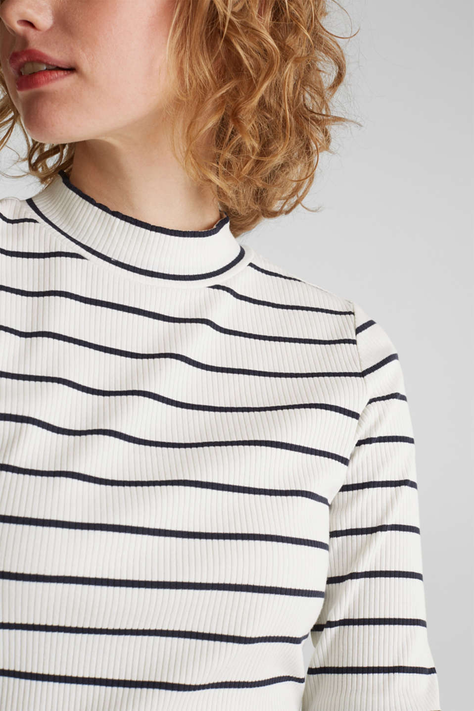Stretch long sleeve top with band collar, OFF WHITE, detail image number 2