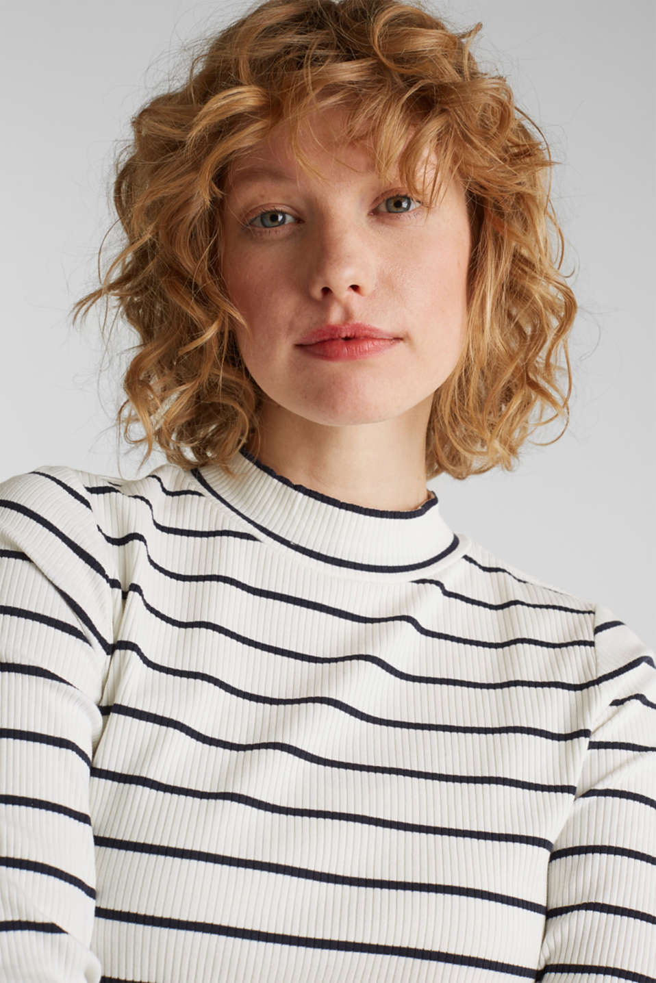 Stretch long sleeve top with band collar, OFF WHITE, detail image number 5