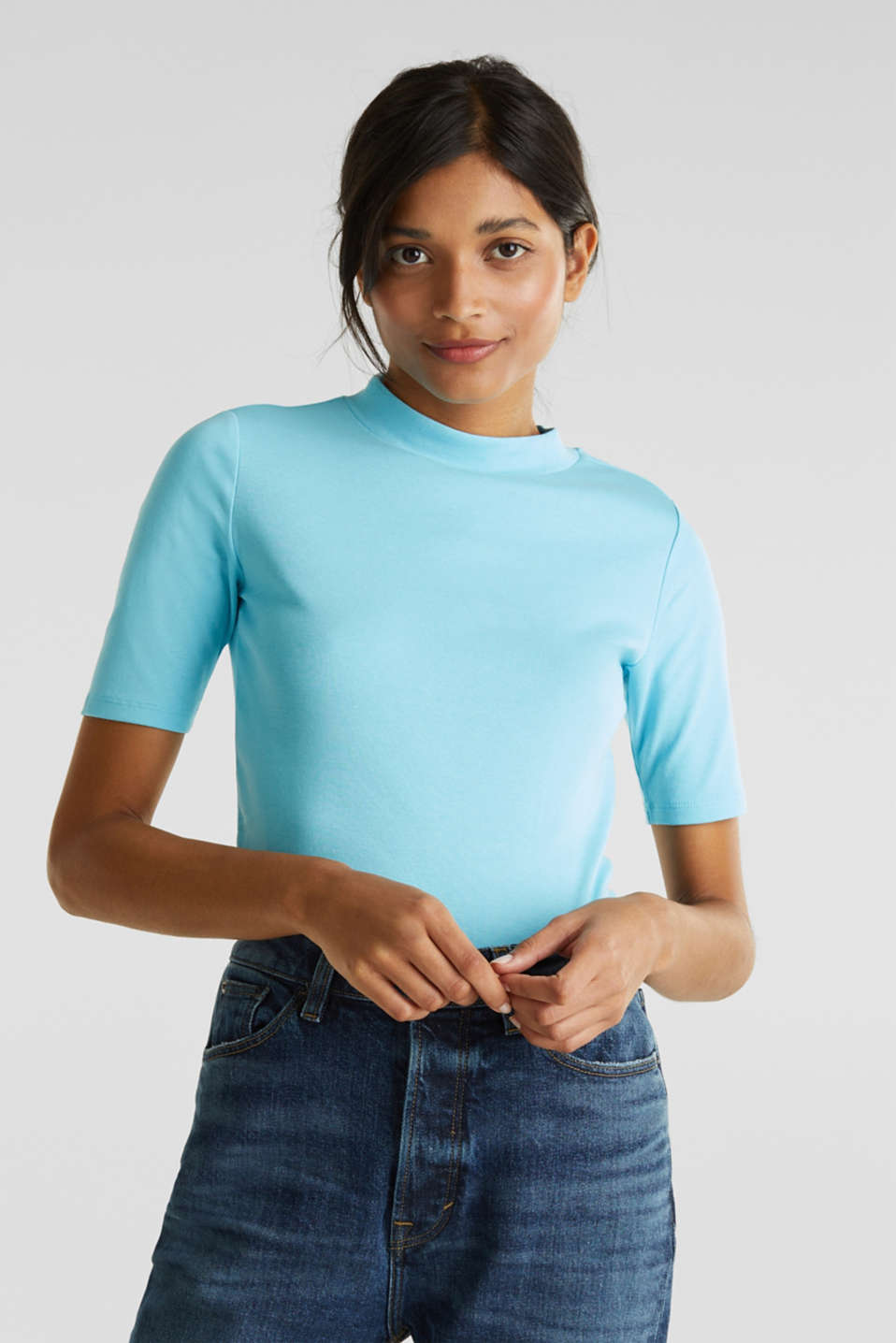 NEON top with a band collar, 100% cotton, TURQUOISE 4, detail image number 0