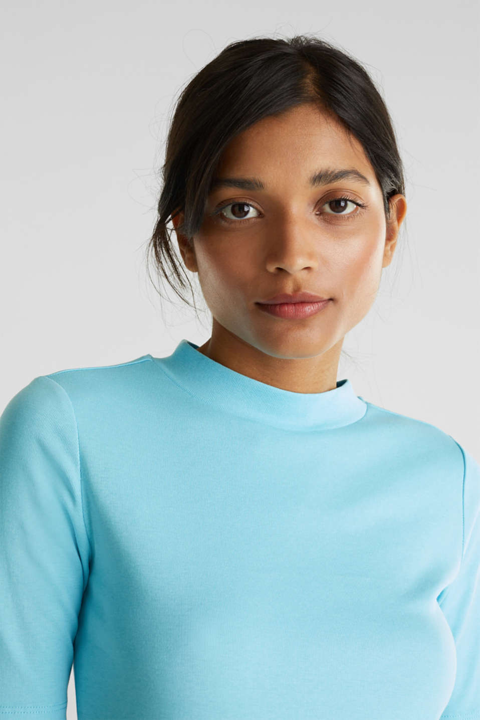NEON top with a band collar, 100% cotton, TURQUOISE 4, detail image number 2