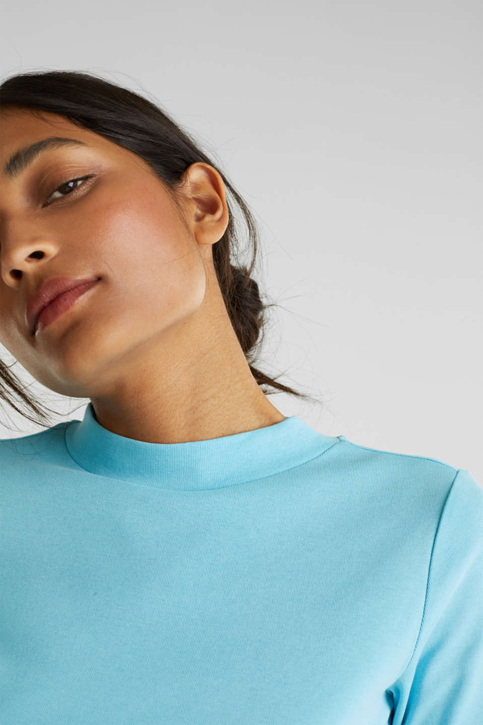 NEON top with a band collar, 100% cotton, TURQUOISE 4, detail image number 5