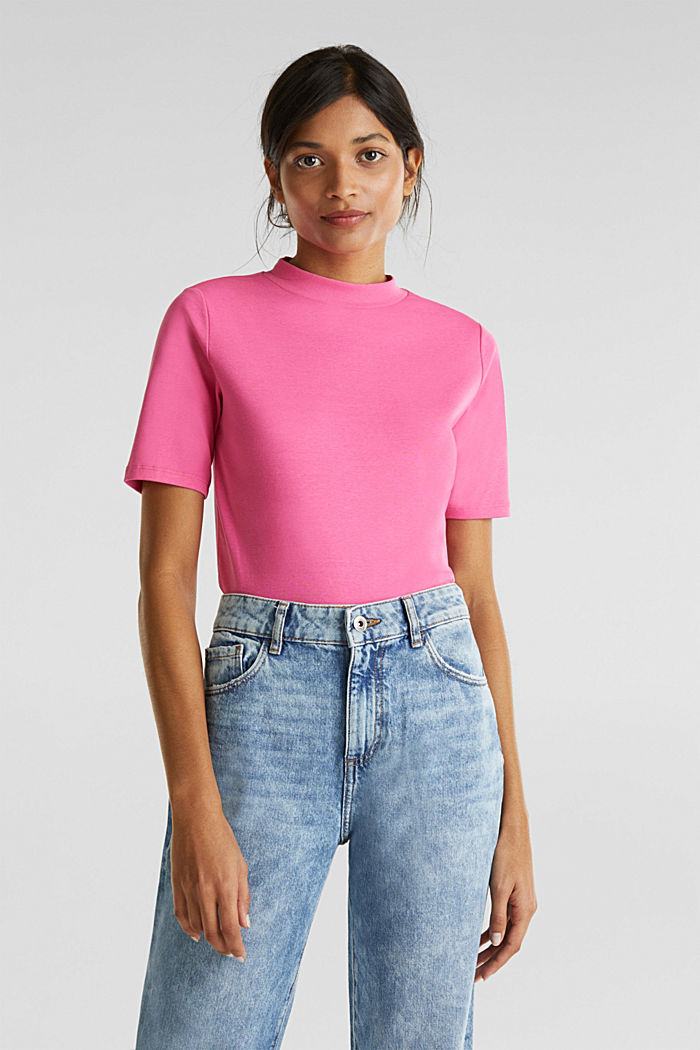 NEON top with a band collar, 100% cotton, PINK FUCHSIA, detail image number 0