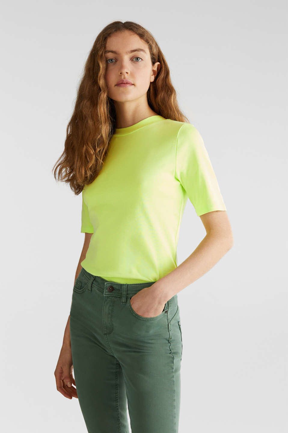 NEON top with a band collar, 100% cotton, LIME YELLOW 4, detail image number 0