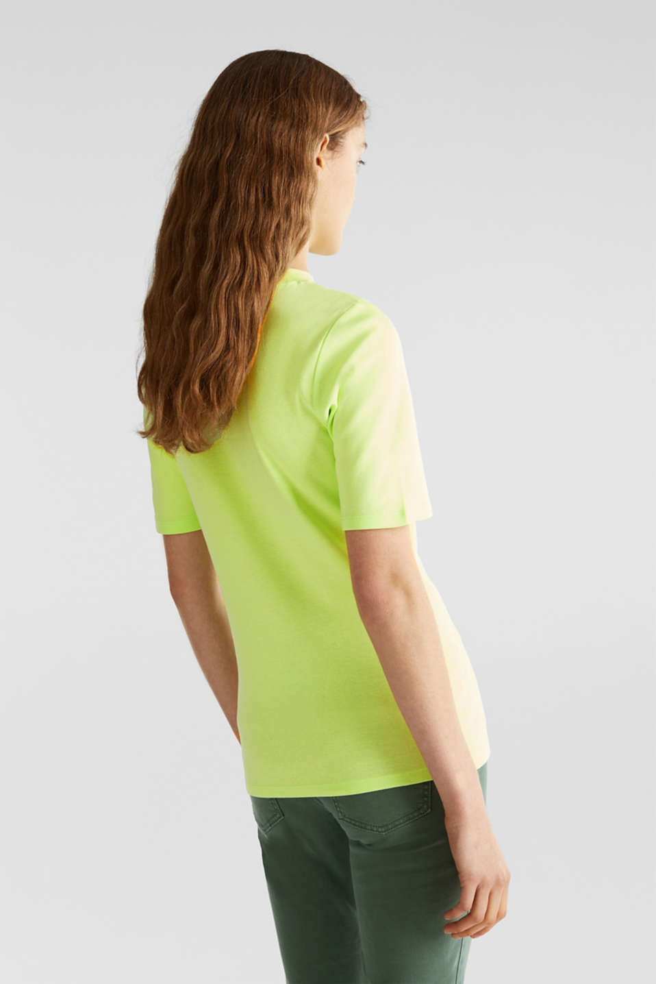 NEON top with a band collar, 100% cotton, LIME YELLOW 4, detail image number 3