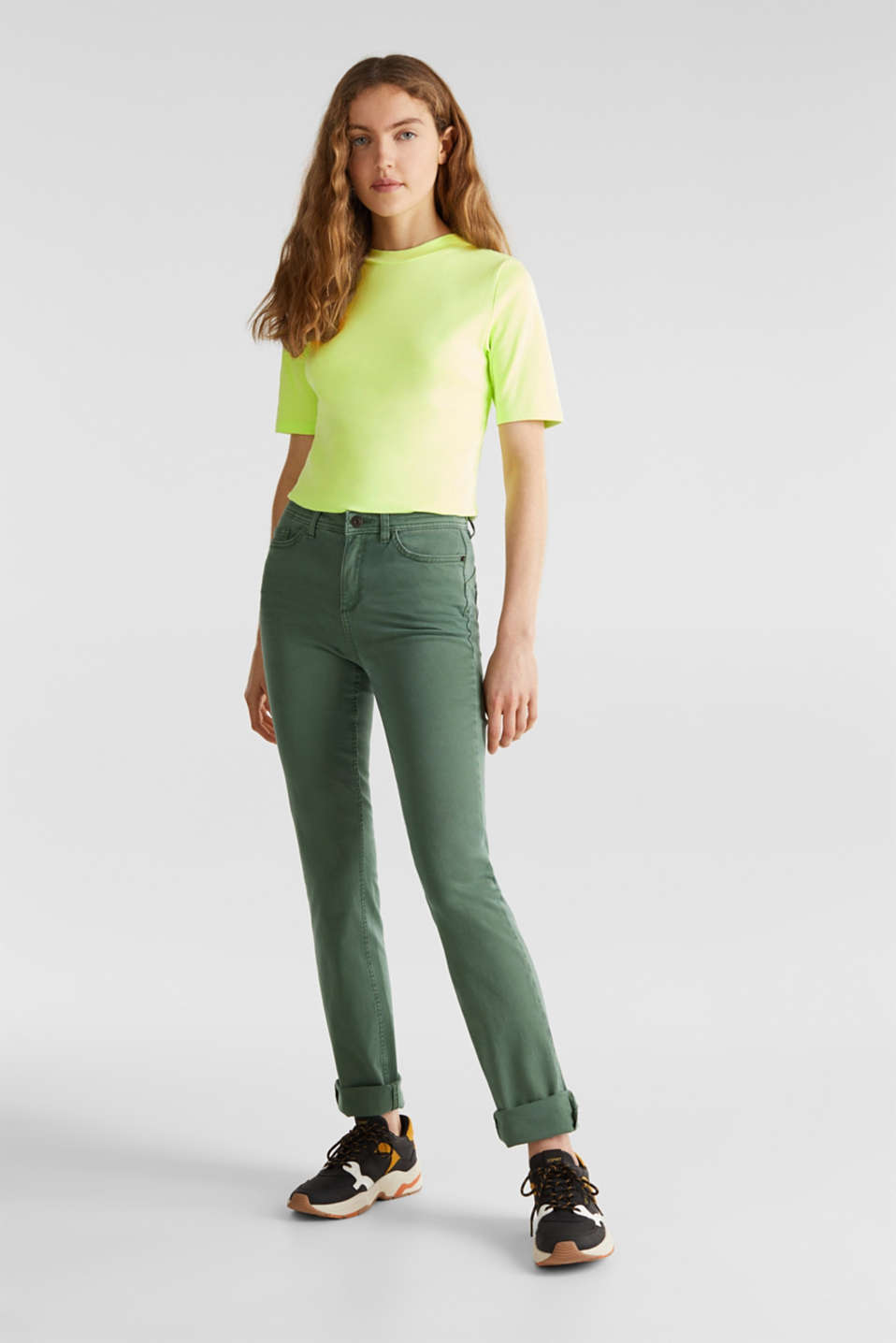 NEON top with a band collar, 100% cotton, LIME YELLOW 4, detail image number 1