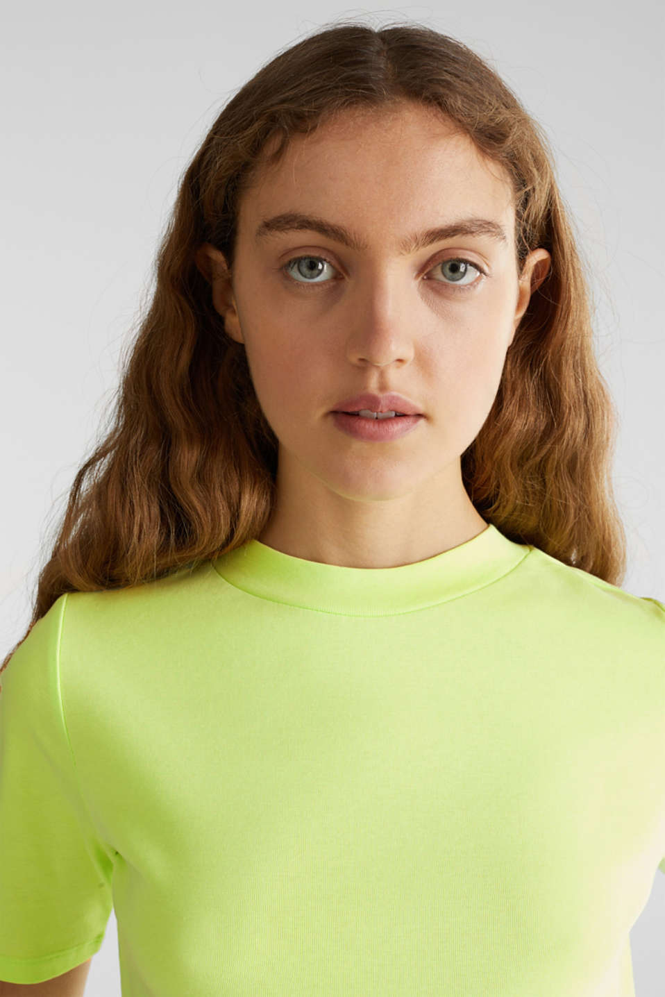 NEON top with a band collar, 100% cotton, LIME YELLOW 4, detail image number 2