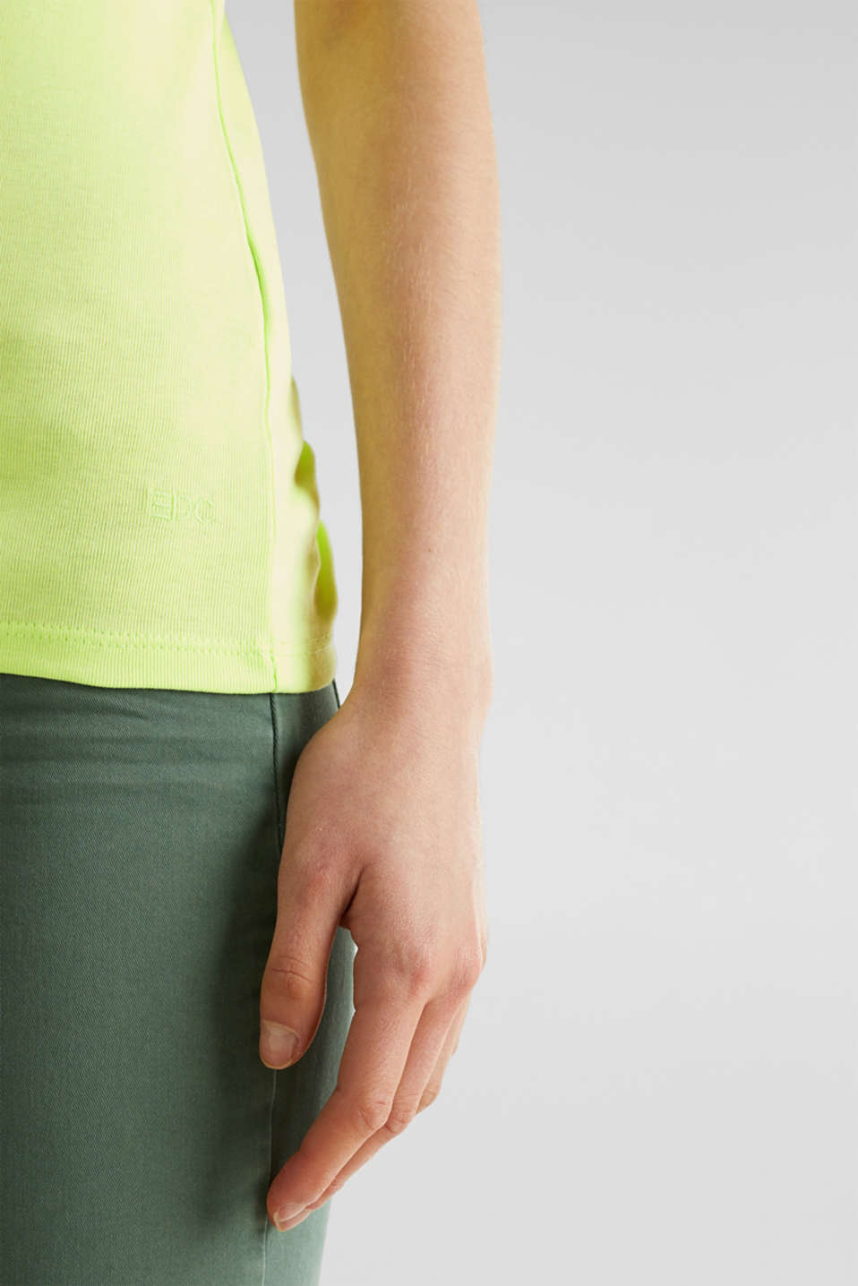 NEON top with a band collar, 100% cotton, LIME YELLOW 4, detail image number 5