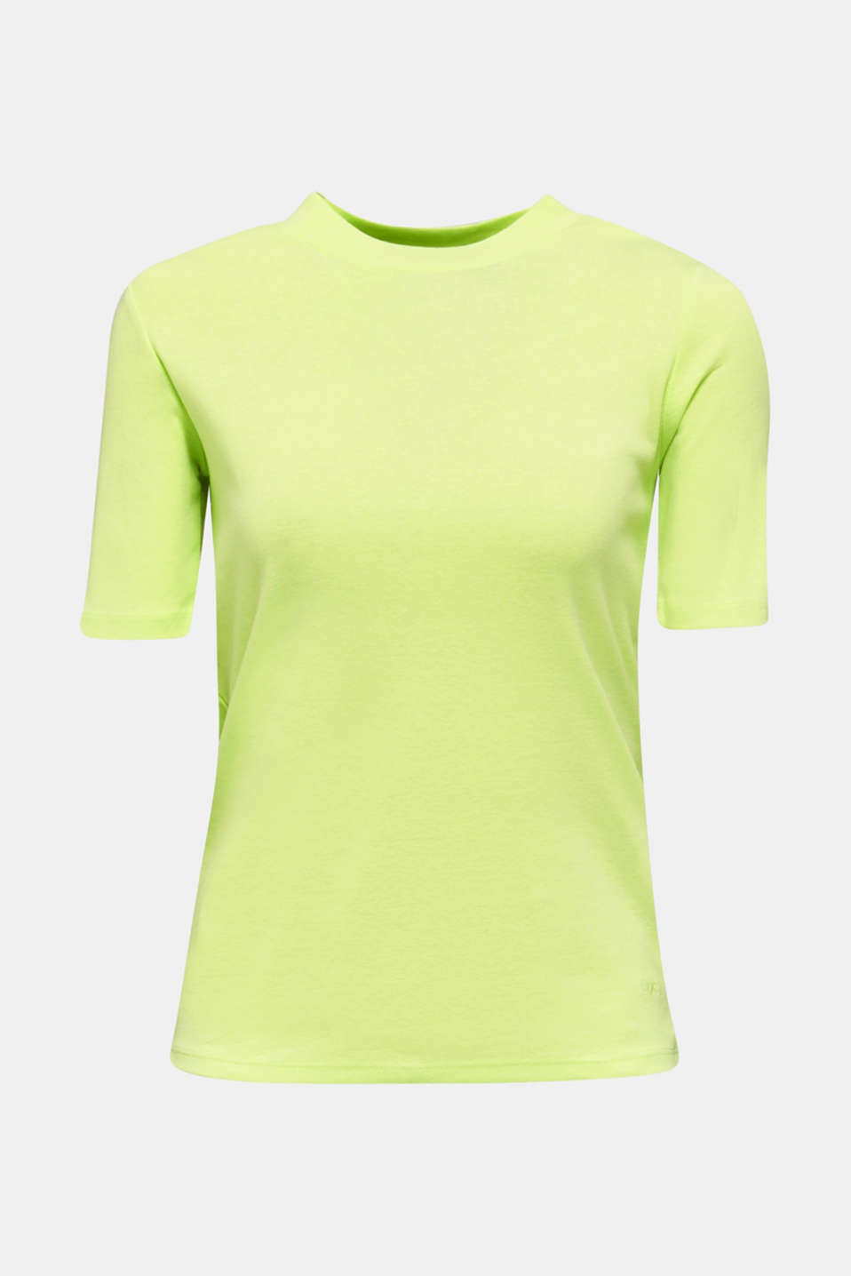 NEON top with a band collar, 100% cotton, LIME YELLOW 4, detail image number 6