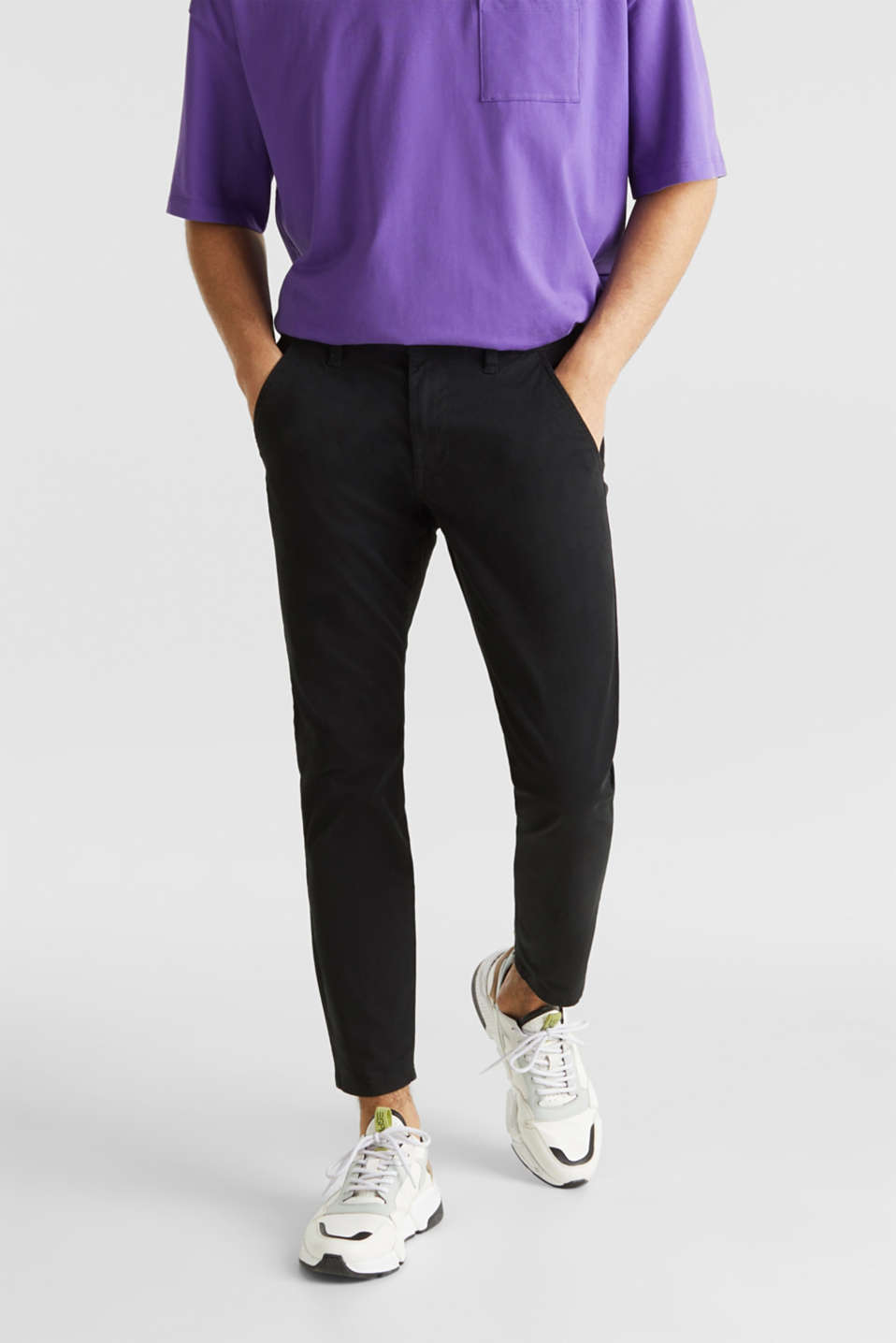 Cropped chinos with stretch and organic cotton, BLACK, detail image number 0