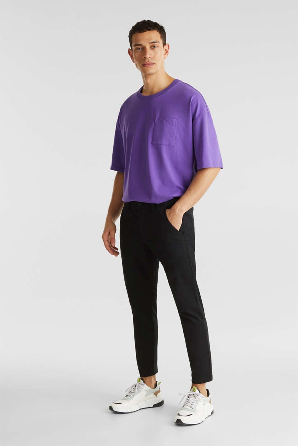 Cropped chinos with stretch and organic cotton, BLACK, detail image number 1